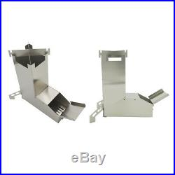 2Pcs Ultralight Stainless Steel Wood Burning Camping Rocket Stove for BBQ