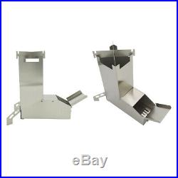 2 lot Stainless Steel Foldable Wood Burning Camping Rocket Stove for BBQ