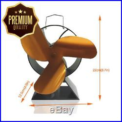 3-Blade Round Back Heat Powered Fan for Wood Burning Stove/Log Burner