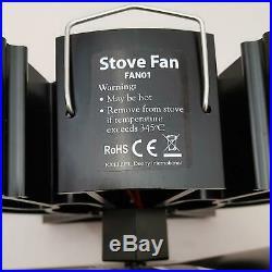 4 Blade Heat Powered Wood Log Fire Burner Stove Fireplace Top Burning Fan Warm