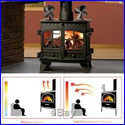 4 Blade Stove Fan Eco Heat Powered Wood Log Burning Fire Burner MINI Ultra Quiet
