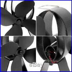 4 Blade Stove Fan Eco Heat Powered Wood Log Burning Fire Burner Ultra Quiet