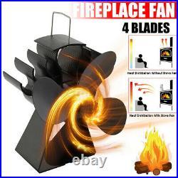 4 Blade Stove Top Fan Heat Powered Wood Burning Log Fire Burner Mini Stove Fan