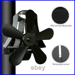 5 Blades Hanging Heat Powered Wood Burning Pipe Stove Fan Burner Fireplace Stove