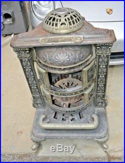 Antique Great Western Cast Iron, Copper & Nickel Wood Burning Parlor Stove 38