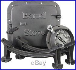 Barrel Stove Kit Cast Iron US Stove Wood Burning 55 Gallon Drum Cabin Barn Shop