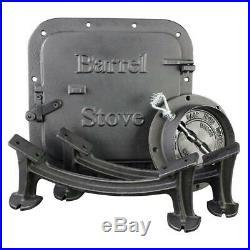 Barrel Stove Kit Heavy Duty cast-iron U. S. Wood Burning Drum withMounting Hardware