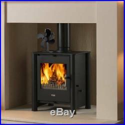 Black 4 Blade Mini Top Stove Fan Heated Powered Wood Burner Log Fire Burning