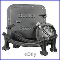 Cast Iron Barrel US Stove Kit Wood Burning Drum Double-Barrel Pellet Stoves Heat