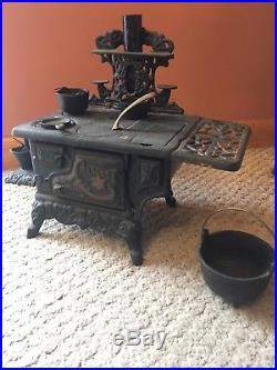 Crescent Wood Burning Stove With Accessories Antique Cast Iron Salesman Sample