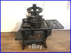 Crescent Wood Burning Toy Stove Antique Cast Iron Salesman Sample COMPLETE EUC