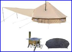 Danchel Outdoor Two Stove Jacket Bell Tent With Front Awning, Tent Wood Burning S