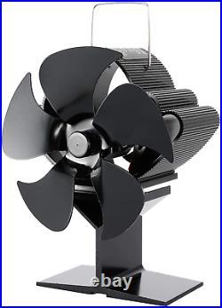 Elec Tech 5 Blades Wood Burning Stove Fireplace Fan Improved Silent Motors Hea