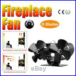Fireplace 8 Blowers Stove Fan Thermometer for Wood Burning Eco fan Fuel Saving