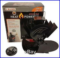 Heat Powered Stove\Log Burner Fan 2018 Mini Three Blade Design+Thermometer
