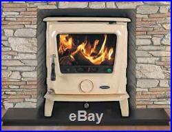 Heritage Belleek 11.5kW Stove Multi Fuel New Wood Burning Fire Enamel Cream