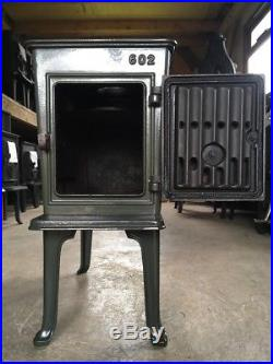 Jotul 602 Classic Cast Iron Wood Burning Stove Green Enamel Top Flue Exit #36