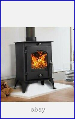 New Log Burner Multifuel Wood Burning Stove Modern Steel Woodburner 7.56KW