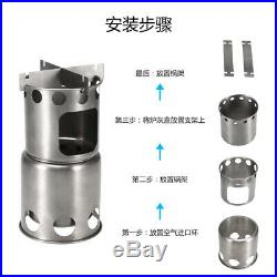 Outdoor Folding Titanium Camping Stove Backpacking Camp Stove Wood Burning G8Y2