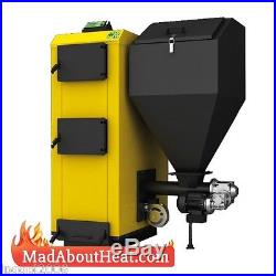 PBI 50kW Pellet Boiler with Multifuel burn wood logs garden waste coal slack