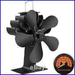 PYBBO 5 Blades Wood Burning Stove Fireplace Fan Improved Silent Motors Heat P