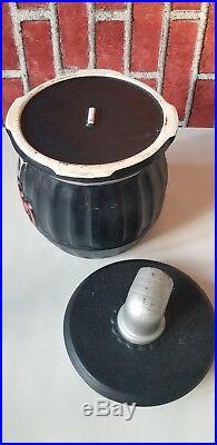 Pot Belly Wood Burning Stove Black Vintage Cookie Jar Japan 10in Tall