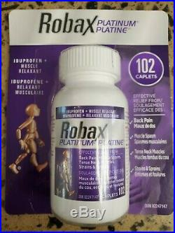 ROBAX Platinum Muscle and Back Pain Relief 102 Caplets SEALED Exp 2022