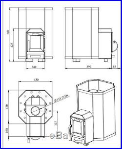 SAUNA Wood Burning Stove Through Wall 13 for 6-13m3 15,4kW Without stones
