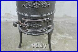Small French Vintage Cast Iron Wood Coal Burning Stove