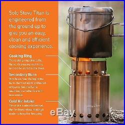 Solo Stove Titan & Solo Pot 1800 Camp Stove Combo Woodburning Backpackin. New