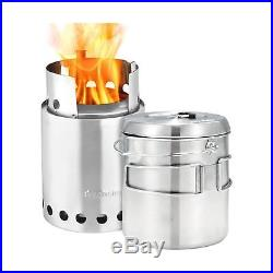 Solo Stove Titan & Solo Pot 1800 Camp Stove Combo Woodburning Backpacking St