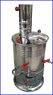 Turkish Samovar 3,5 L Tea kettle Take Anywhere Wood Burning Stove with 2 taps