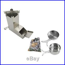 Ultralight Wood Burning Camping Rocket Stove with Pot for Backpacking BBQ