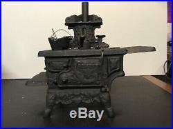 Vintage Cresent Cast Iron Saleman Sampler Wood burning Stove
