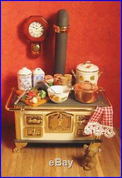 Vintage Dollhouse Hennig Metal Stove Victorian Wood Burning Fine