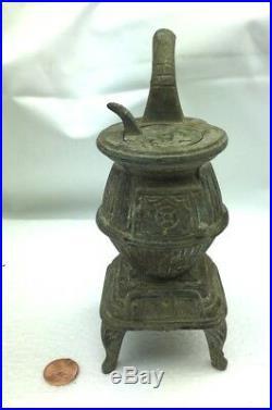 Vintage Miniature Cast Iron Stove Zinc Wood Burning Salesman Sample Potbelly