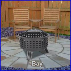 Wood Burning Fire Pit Outdoor Heater Backyard Patio Deck Stove Fireplace Black