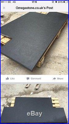 Wood Burning Stove Tear Shape Hearth 30Mm Black Granite Mat Finish