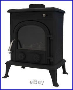 Woodburner Cast Iron Log Burner Multifuel Wood Burning Stove 8KW TR-A8 Black